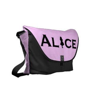 Alice in Wonderland in Black Messenger Bag