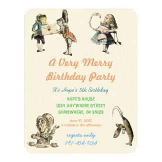 "Alice In Wonderland Invitation  Birthday Party 4.25"" X 5.5"" Invitation Card"