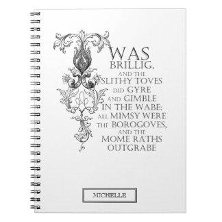 Alice In Wonderland Jabberwocky Poem Notebook