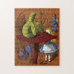 """Alice in Wonderland Jigsaw Puzzle<br><div class=""""desc"""">Modern version of a vintage book illustration   A hookah-smoking caterpillar sits atop a mushroom and speaks to Alice.</div>"""