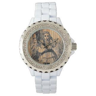 Alice (In Wonderland) Little Pig Rustic Wood Watch