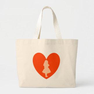 Alice in Wonderland Love Large Tote Bag