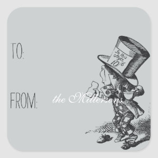 Alice in Wonderland Mad Hatter Gift Tag Square Sticker
