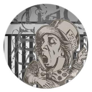 Alice In Wonderland Mad Hatter Grunge Dinner Plate
