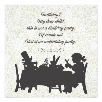 Mad Hatters Wonderland Birthday Tea Party Card Zazzlecom