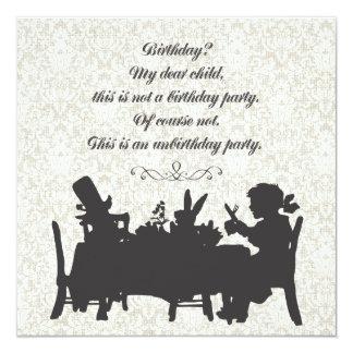 "Alice in Wonderland Mad Hatter Tea Party Birthday 5.25"" Square Invitation Card"