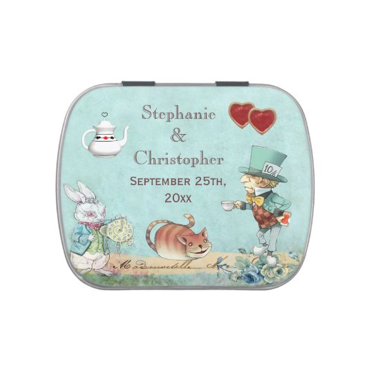 Alice in Wonderland Mad Hatter Wedding Favor Jelly Belly Candy Tin ...