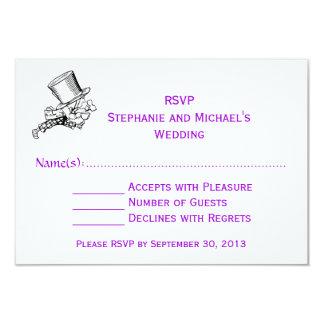 Alice In Wonderland Mad Hatter Wedding RSVP Purple Personalized Invitation