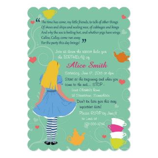 Alice in wonderland mad tea party birthday invites