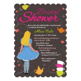 Alice in Wonderland mad tea party bridal shower 5x7 Paper Invitation Card