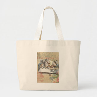 Alice in Wonderland Mad Tea Party Large Tote Bag