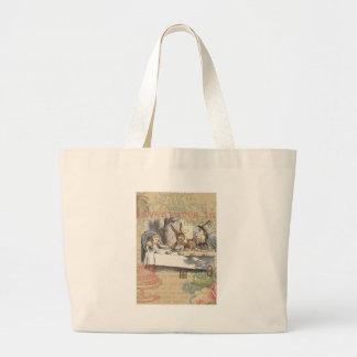 Alice in Wonderland Mad Tea Party Large Tote Bag