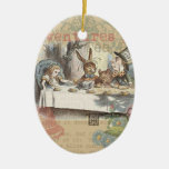 Alice in Wonderland Mad Tea Party Double-Sided Oval Ceramic Christmas Ornament