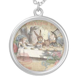 Alice in Wonderland Mad Tea Party Round Pendant Necklace