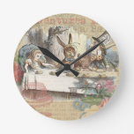 Alice in Wonderland Mad Tea Party Round Wall Clock