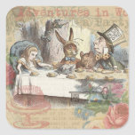 Alice in Wonderland Mad Tea Party Square Sticker