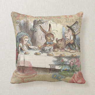 Alice in Wonderland Mad Tea Party Throw Pillow