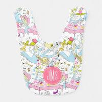 Alice in Wonderland | Monogram Oversized Pattern Baby Bib