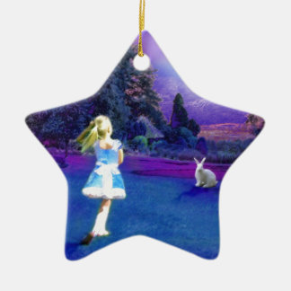 Alice in Wonderland Double-Sided Star Ceramic Christmas Ornament