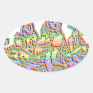 Alice in wonderland oval sticker