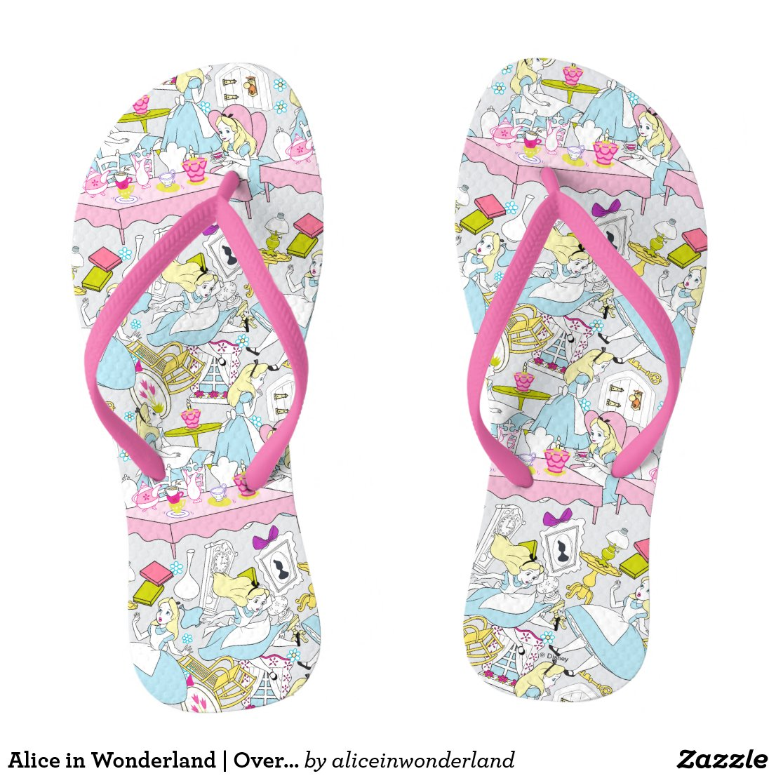 Alice in Wonderland | Oversized Pattern Flip Flops