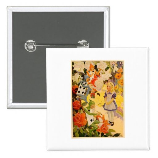 Alice in Wonderland: Painting the Roses Red 2 Inch Square Button
