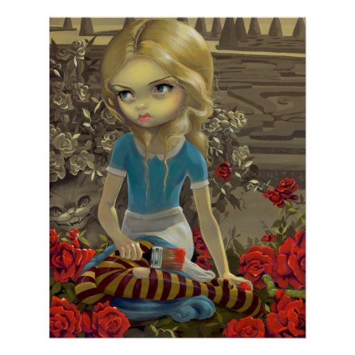 Alice in Wonderland Painting the Roses Red PRINT