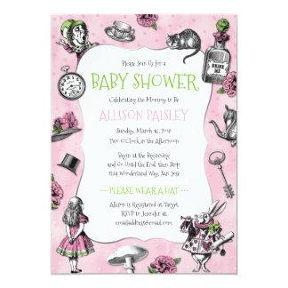 Alice in Wonderland Pink Baby Shower Card