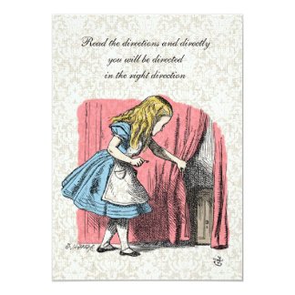 Alice in Wonderland Pink Flamingo Birthday Party 5x7 Paper Invitation Card