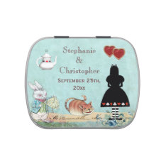 Alice in Wonderland Pink Flamingo Wedding Favor Jelly Belly Candy Tin at Zazzle