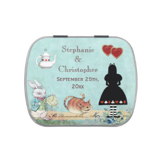 Alice in Wonderland Pink Flamingo Wedding Favor Jelly Belly Candy Tin