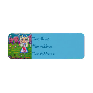 Alice in Wonderland Pink Flamingos Big Eye Art Label