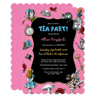 Alice in Wonderland Pink Tea Party Card