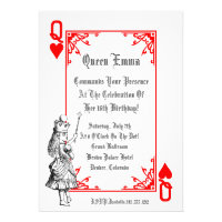Alice In Wonderland Playing Card  Party Invitation