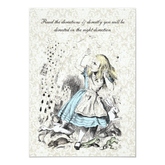 """Alice in Wonderland Playing Cards Birthday Party 5"""" X 7"""" Invitation Card"""