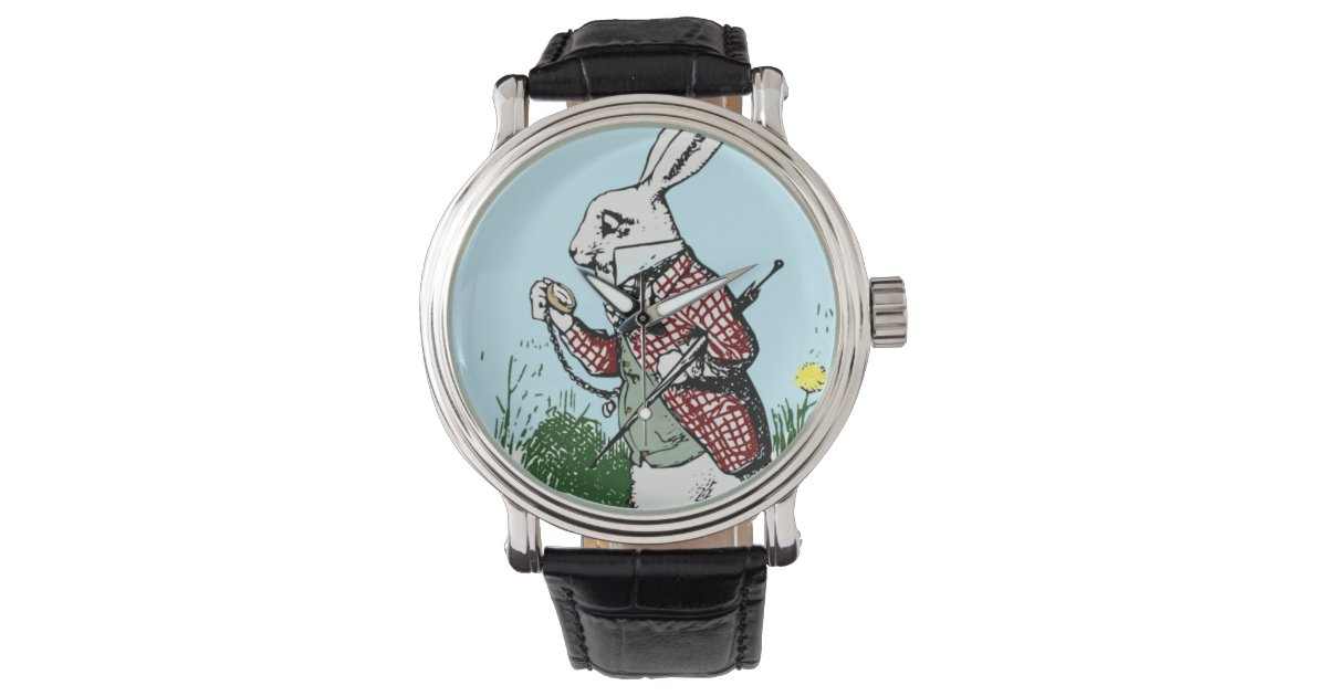 Alice In Wonderland Pocketwatch Watch White Rabbit
