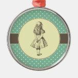 Alice in Wonderland Polka Dots Metal Ornament