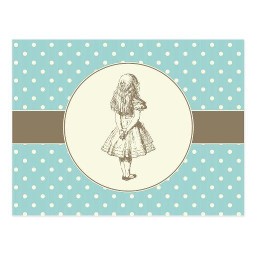 Alice in Wonderland Polka Dots Postcard