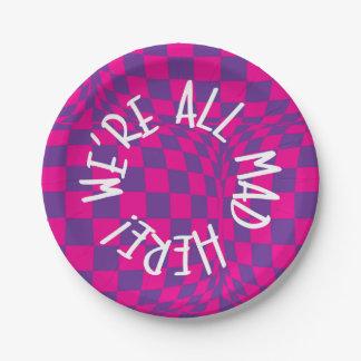 Alice in Wonderland - Purple Plates - Were all Mad