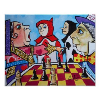 Alice in Wonderland Queen of hearts chess Poster