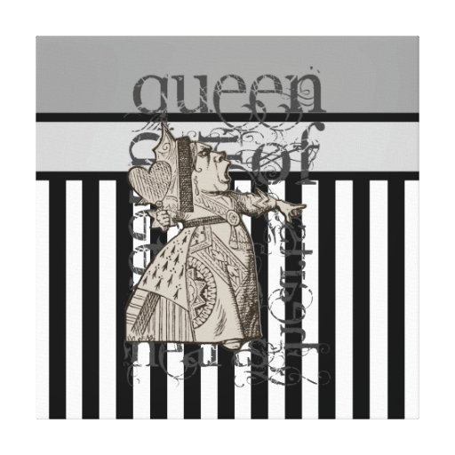 Alice In Wonderland Queen of Hearts Grunge Gallery Wrap Canvas