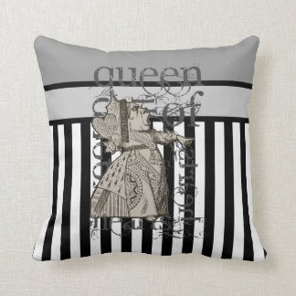Alice In Wonderland Queen of Hearts Grunge Throw Pillow