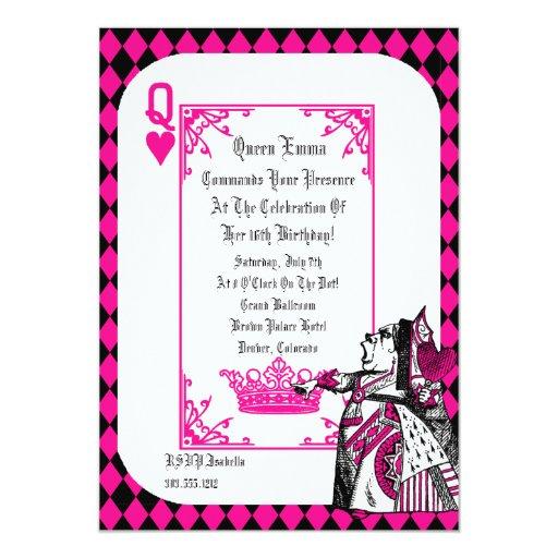 Alice In Wonderland Queen Party Invitation