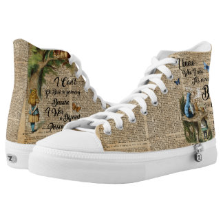Alice in Wonderland Quote Vintage Dictionary Art High-Top Sneakers