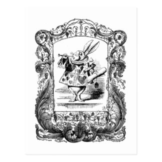 Alice in Wonderland Rabbit Horn Ornate Frame Vinta Postcard