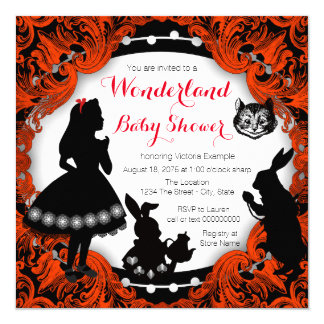 Alice in Wonderland Red and Black Baby Shower Card