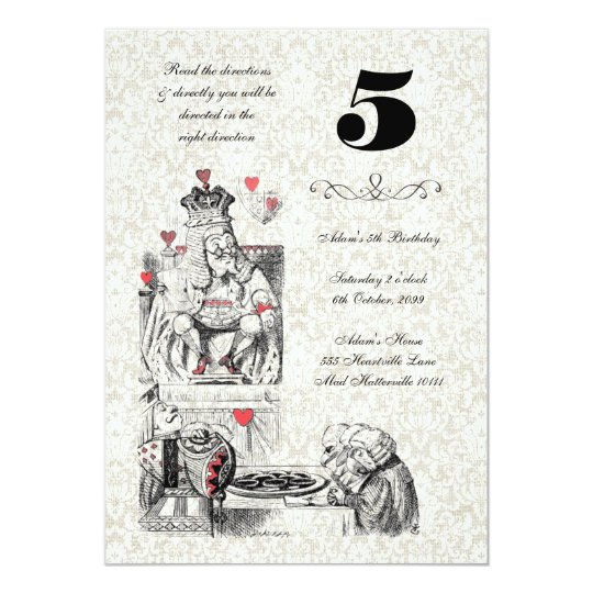 Alice in Wonderland Red Hearts Tea Party Birthday Card