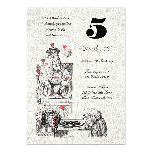 Alice in Wonderland Red Hearts Tea Party Birthday Invite
