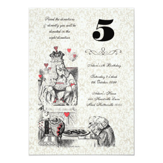 Alice in Wonderland Red Hearts Tea Party Birthday 5x7 Paper Invitation Card