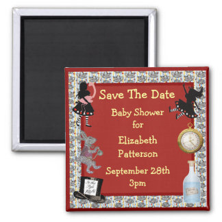 Alice in Wonderland Red Save The Date Baby Shower 2 Inch Square Magnet